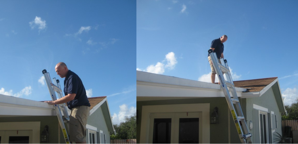 Ron performing a Home Inspection of a roof.